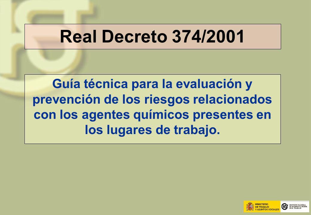Real Decreto 374/2001 Guía técnica para la evaluación y prevención de los riesgos relacionados con los agentes químicos presentes en los lugares de tr