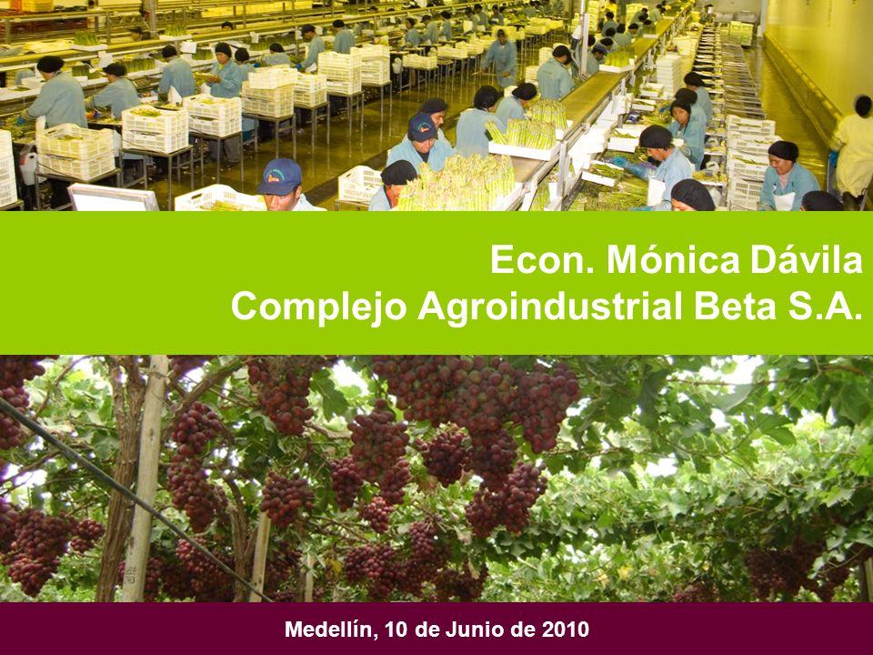 Medellín, 10 de Junio de 2010 Econ. Mónica Dávila Complejo Agroindustrial Beta S.A.