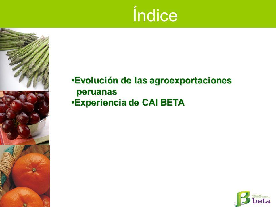 Índice Evolución de las agroexportacionesEvolución de las agroexportaciones peruanas peruanas Experiencia de CAI BETAExperiencia de CAI BETA