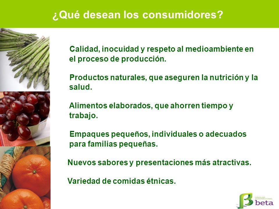 Calidad, inocuidad y respeto al medioambiente en el proceso de producción. Productos naturales, que aseguren la nutrición y la salud. Alimentos elabor
