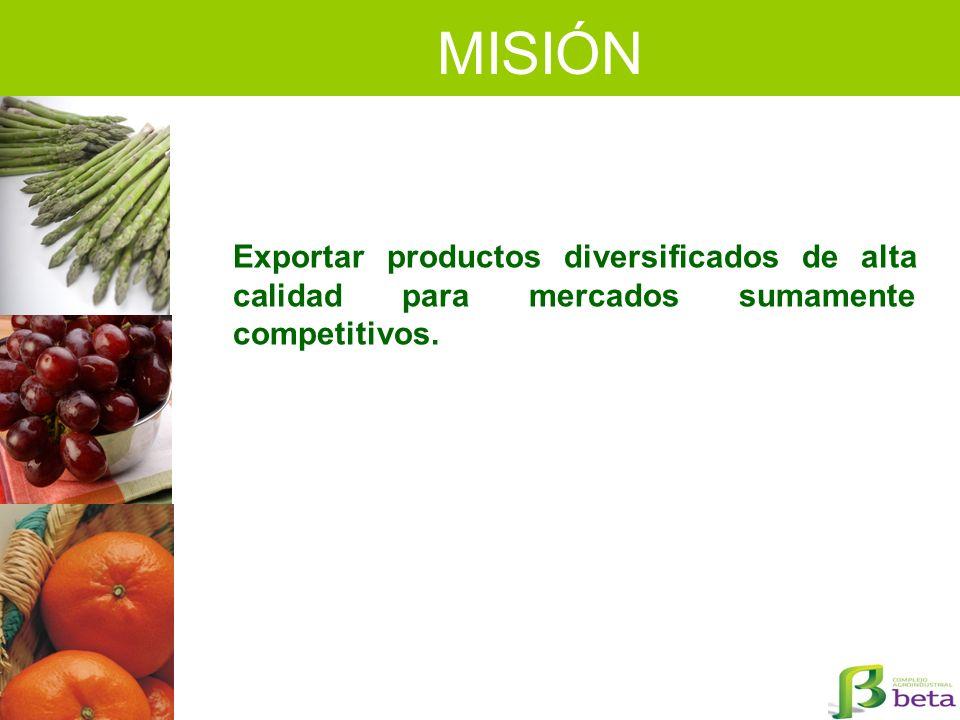MISIÓN Exportar productos diversificados de alta calidad para mercados sumamente competitivos.