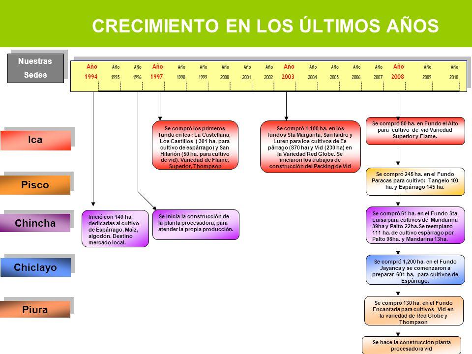 CRECIMIENTO EN LOS ÚLTIMOS AÑOS Ica Pisco Chincha Chiclayo Piura Inició con 140 ha, dedicadas al cultivo de Espárrago, Maíz, algodón. Destino mercado