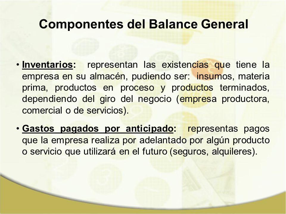 Componentes del Balance General Inventarios: representan las existencias que tiene la empresa en su almacén, pudiendo ser: insumos, materia prima, pro