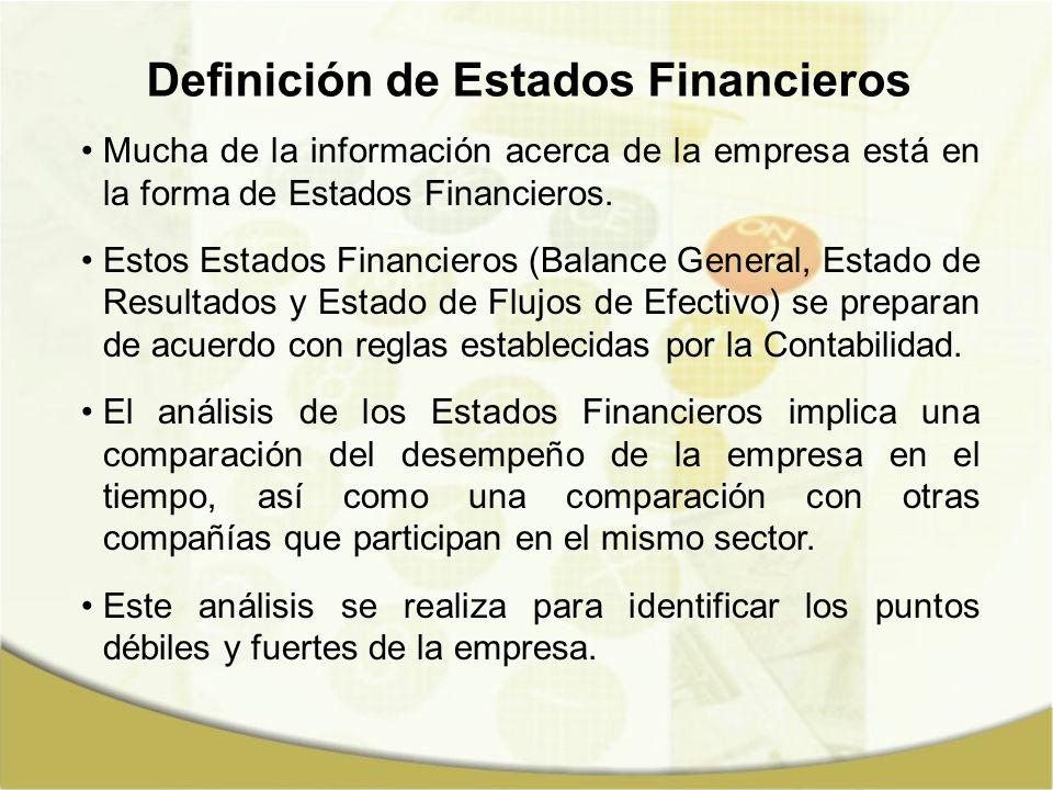 Definición de Estados Financieros Mucha de la información acerca de la empresa está en la forma de Estados Financieros. Estos Estados Financieros (Bal