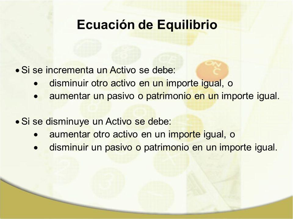 Si se incrementa un Activo se debe: disminuir otro activo en un importe igual, o aumentar un pasivo o patrimonio en un importe igual. Si se disminuye
