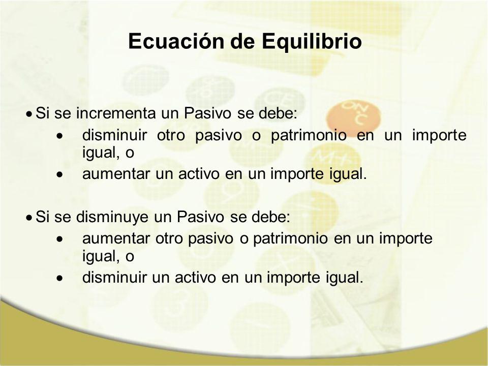 Si se incrementa un Pasivo se debe: disminuir otro pasivo o patrimonio en un importe igual, o aumentar un activo en un importe igual. Si se disminuye