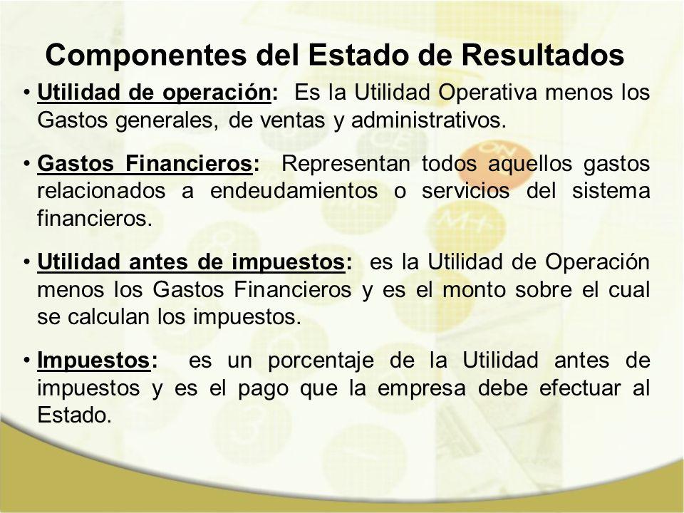 Componentes del Estado de Resultados Utilidad de operación: Es la Utilidad Operativa menos los Gastos generales, de ventas y administrativos. Gastos F