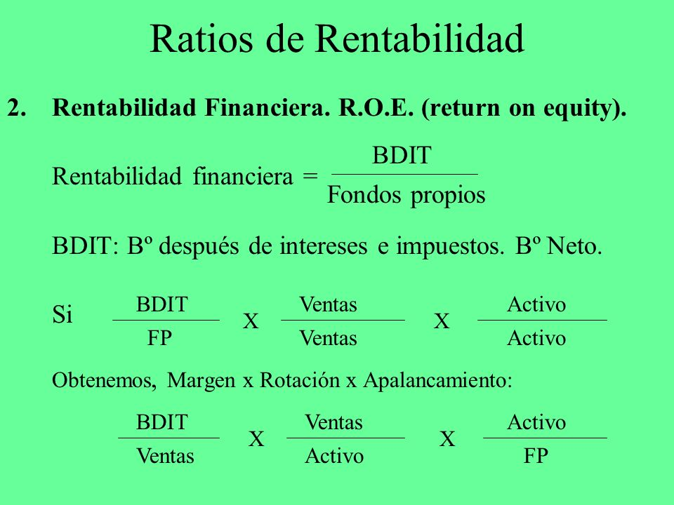 Ratios de Rentabilidad 2.Rentabilidad Financiera. R.O.E. (return on equity). Rentabilidad financiera = BDIT: Bº después de intereses e impuestos. Bº N