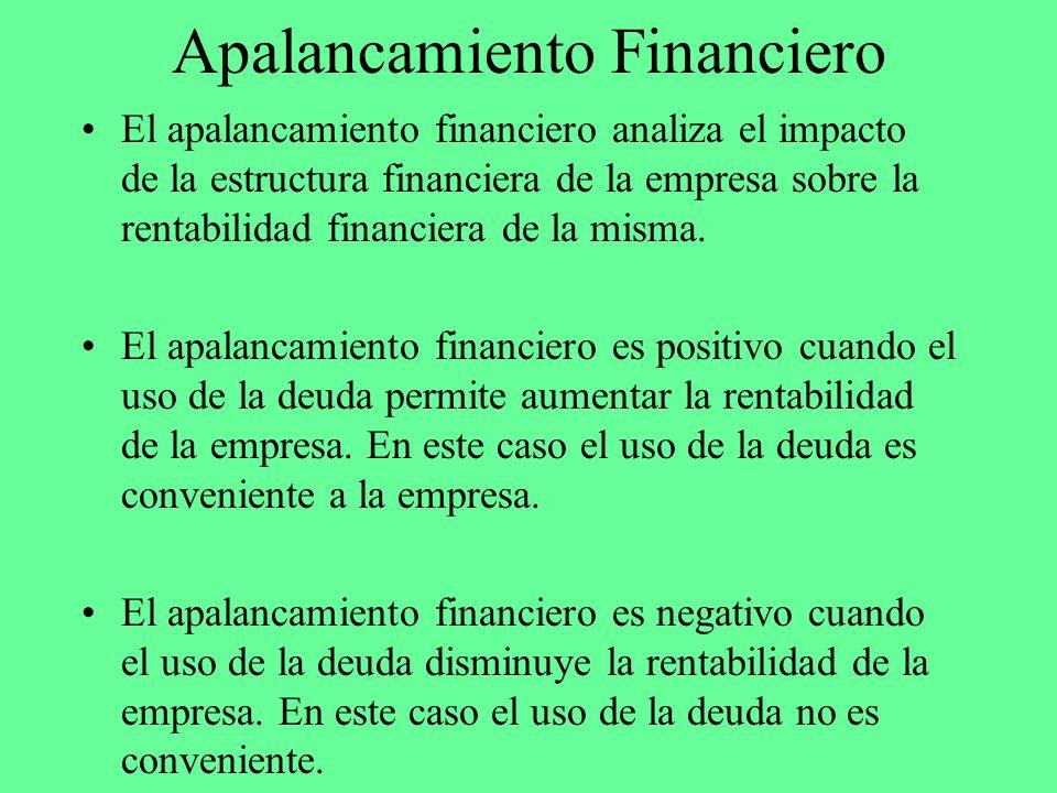 Apalancamiento Financiero El apalancamiento financiero analiza el impacto de la estructura financiera de la empresa sobre la rentabilidad financiera d