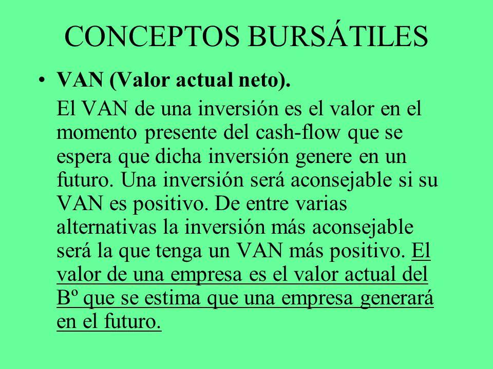 CONCEPTOS BURSÁTILES VAN (Valor actual neto). El VAN de una inversión es el valor en el momento presente del cash-flow que se espera que dicha inversi