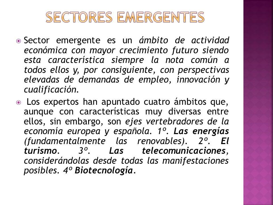Sector emergente es un ámbito de actividad económica con mayor crecimiento futuro siendo esta característica siempre la nota común a todos ellos y, po
