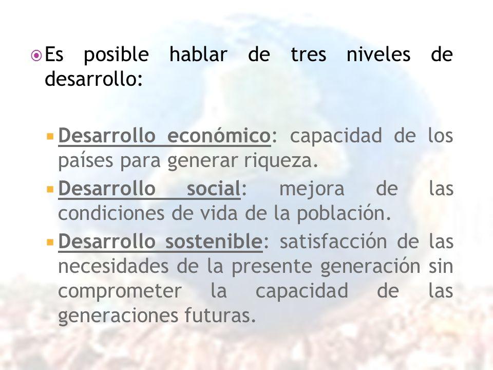 Es posible hablar de tres niveles de desarrollo: Desarrollo económico: capacidad de los países para generar riqueza. Desarrollo social: mejora de las