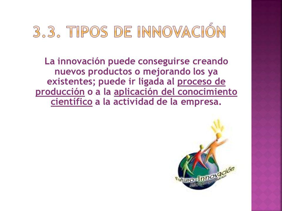 La innovación puede conseguirse creando nuevos productos o mejorando los ya existentes; puede ir ligada al proceso de producción o a la aplicación del