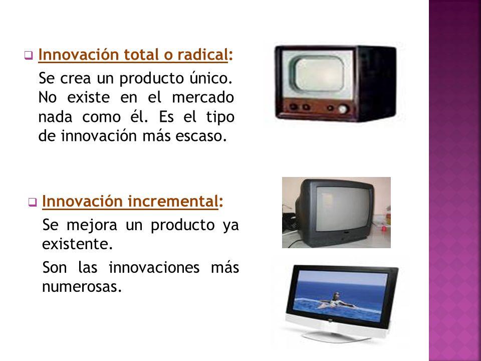 Innovación total o radical: Se crea un producto único. No existe en el mercado nada como él. Es el tipo de innovación más escaso. Innovación increment