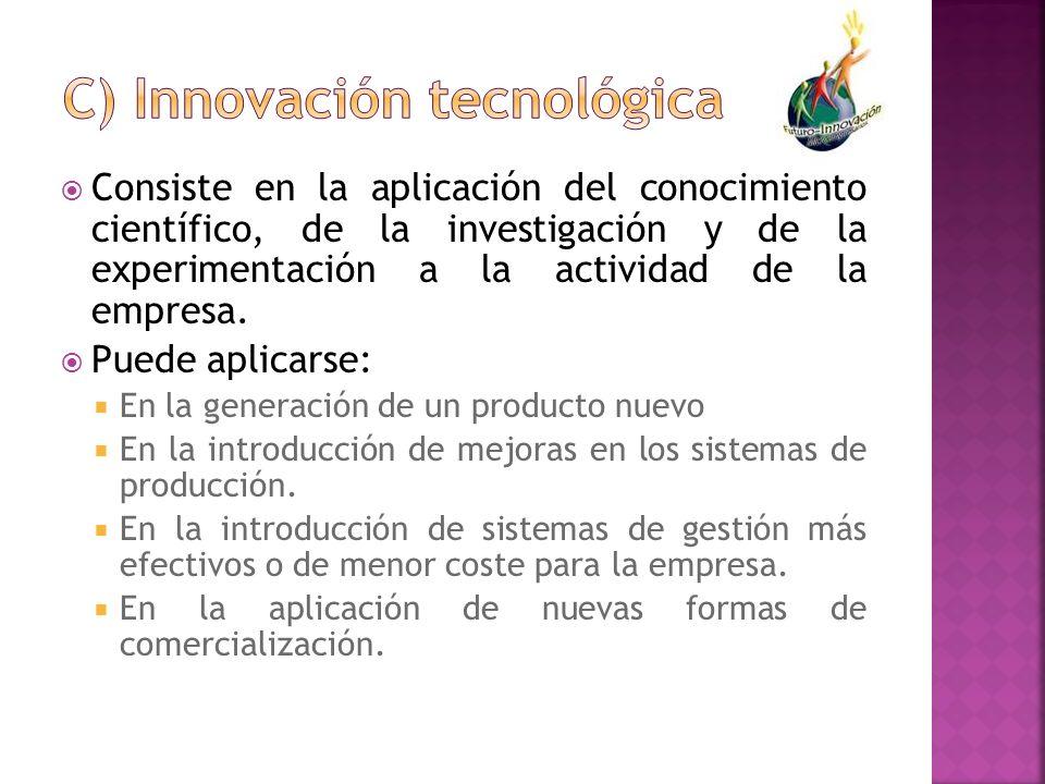 Consiste en la aplicación del conocimiento científico, de la investigación y de la experimentación a la actividad de la empresa. Puede aplicarse: En l