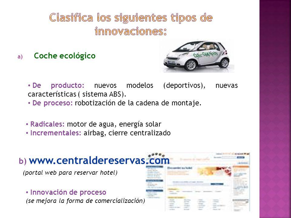 a) Coche ecológico b) www.centraldereservas.com (portal web para reservar hotel) De producto: nuevos modelos (deportivos), nuevas características ( si