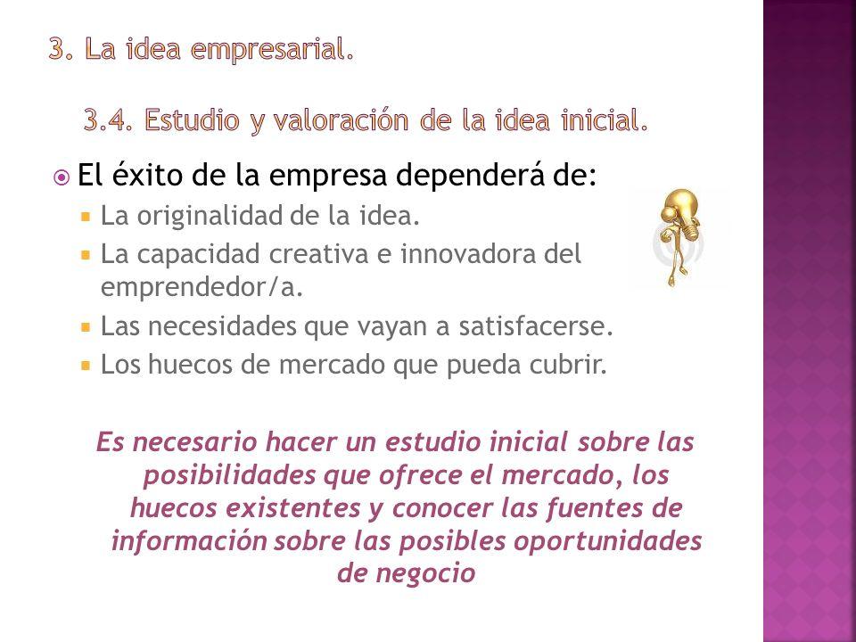 El éxito de la empresa dependerá de: La originalidad de la idea. La capacidad creativa e innovadora del emprendedor/a. Las necesidades que vayan a sat