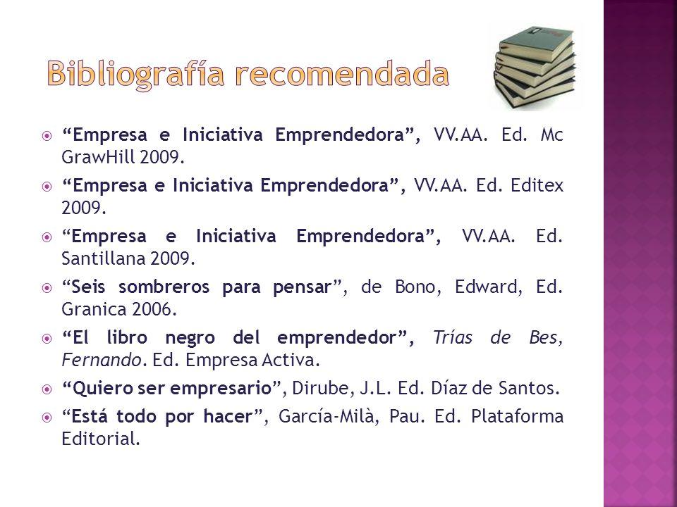 Empresa e Iniciativa Emprendedora, VV.AA. Ed. Mc GrawHill 2009. Empresa e Iniciativa Emprendedora, VV.AA. Ed. Editex 2009. Empresa e Iniciativa Empren