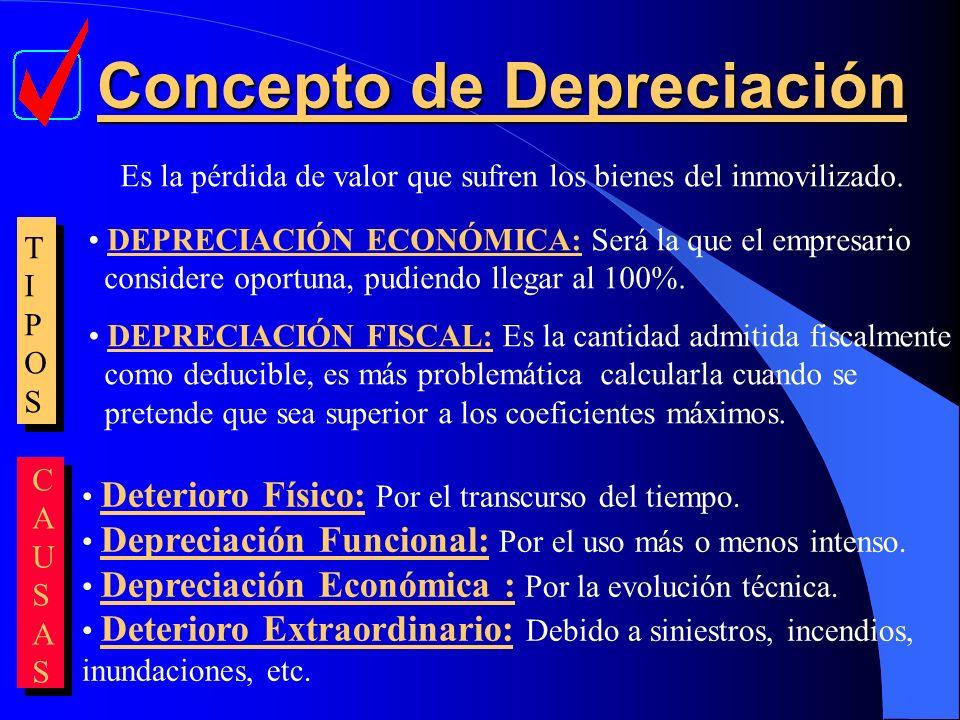 Concepto de Depreciación Concepto de Depreciación Es la pérdida de valor que sufren los bienes del inmovilizado. TIPOSTIPOS DEPRECIACIÓN ECONÓMICA: Se