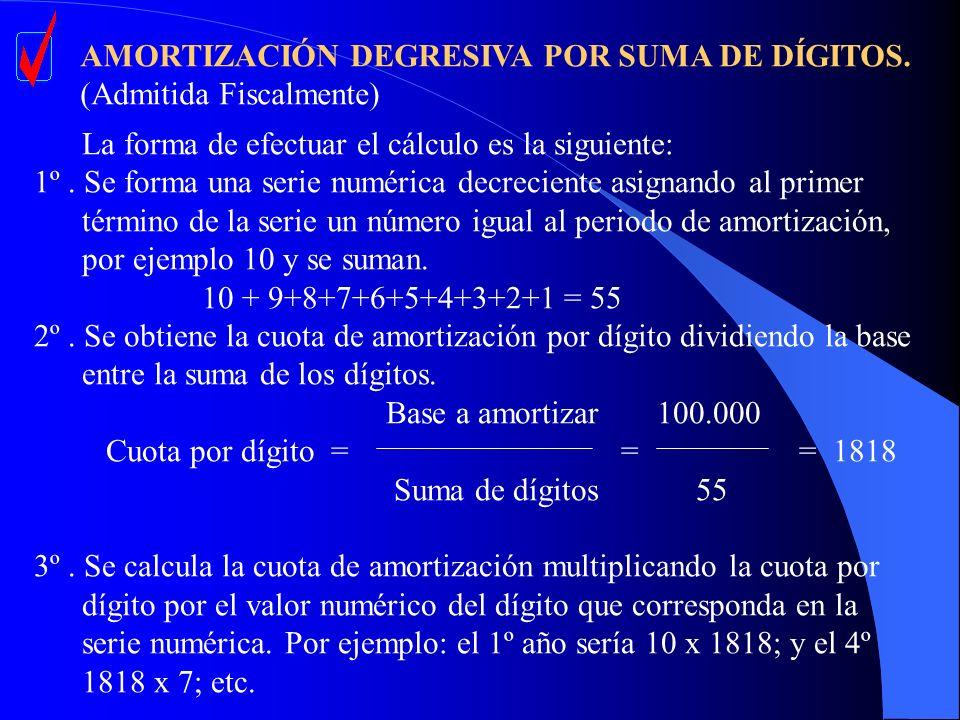 AMORTIZACIÓN DEGRESIVA POR SUMA DE DÍGITOS. (Admitida Fiscalmente) La forma de efectuar el cálculo es la siguiente: 1º. Se forma una serie numérica de