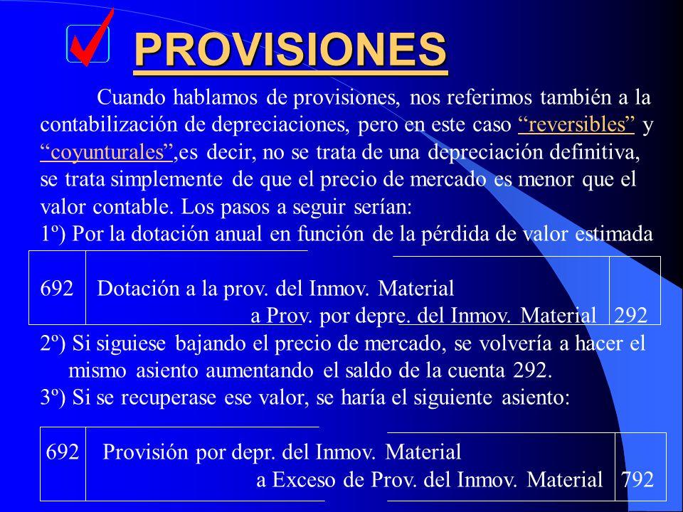 PROVISIONES Cuando hablamos de provisiones, nos referimos también a la contabilización de depreciaciones, pero en este caso reversibles y coyunturales