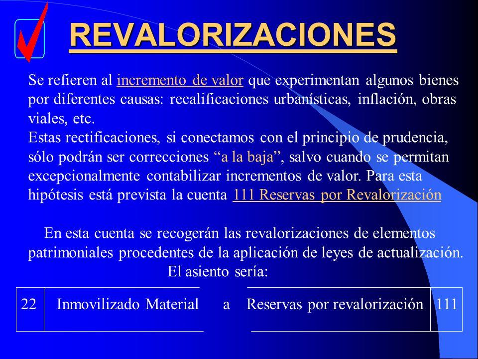 REVALORIZACIONES Se refieren al incremento de valor que experimentan algunos bienes por diferentes causas: recalificaciones urbanísticas, inflación, o