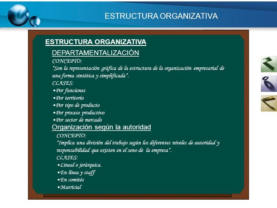ESTRUCTURA ORGANIZATIVA CONCEPTO: Son la representación gráfica de la estructura de la organización empresarial de una forma sintética y simplificada.
