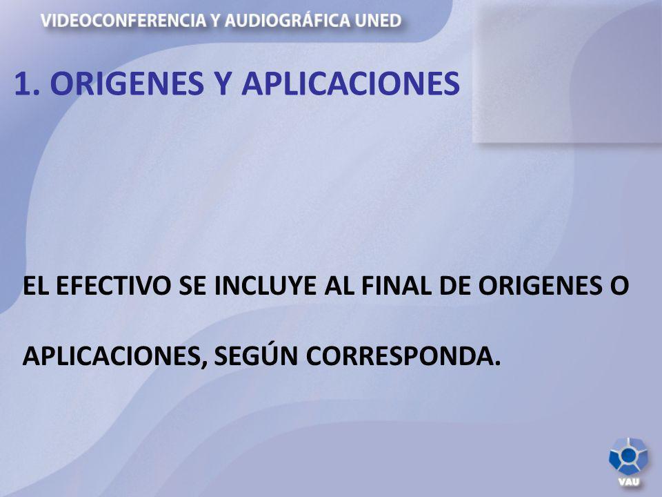 EL EFECTIVO SE INCLUYE AL FINAL DE ORIGENES O APLICACIONES, SEGÚN CORRESPONDA. 1. ORIGENES Y APLICACIONES