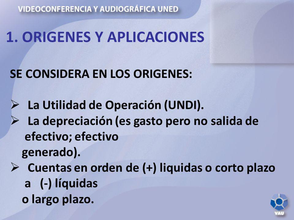 SE CONSIDERA EN LOS ORIGENES: La Utilidad de Operación (UNDI). La depreciación (es gasto pero no salida de efectivo; efectivo generado). Cuentas en or