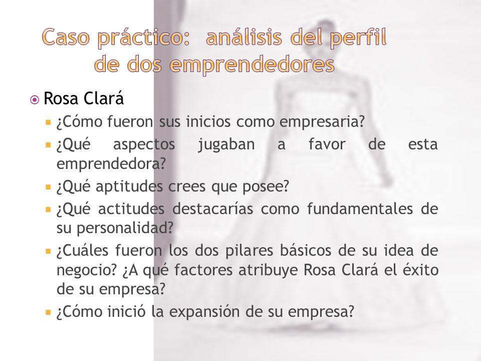 Rosa Clará ¿Cómo fueron sus inicios como empresaria? ¿Qué aspectos jugaban a favor de esta emprendedora? ¿Qué aptitudes crees que posee? ¿Qué actitude