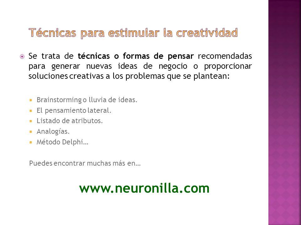 Se trata de técnicas o formas de pensar recomendadas para generar nuevas ideas de negocio o proporcionar soluciones creativas a los problemas que se p