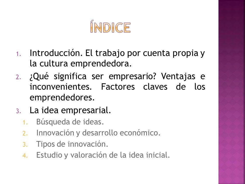 1. Introducción. El trabajo por cuenta propia y la cultura emprendedora. 2. ¿Qué significa ser empresario? Ventajas e inconvenientes. Factores claves