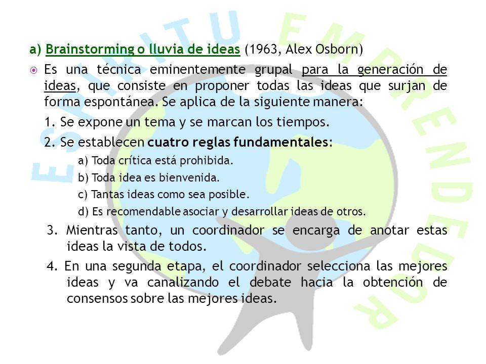 a) Brainstorming o lluvia de ideas (1963, Alex Osborn) Es una técnica eminentemente grupal para la generación de ideas, que consiste en proponer todas