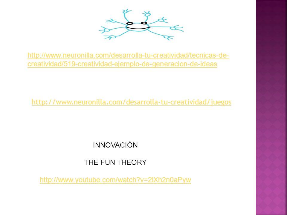 http://www.neuronilla.com/desarrolla-tu-creatividad/juegos http://www.neuronilla.com/desarrolla-tu-creatividad/tecnicas-de- creatividad/519-creativida
