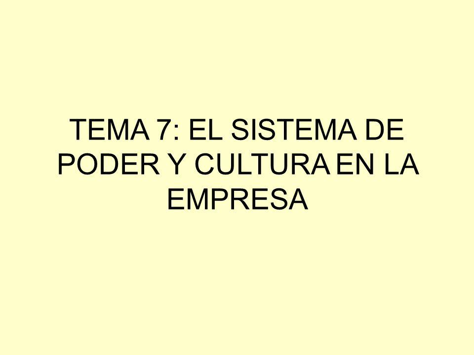 OBJETIVOS DE CONOCIMIENTO DEL TEMA 4 1.- CONCEPTO DE CULTURA ORGANIZATIVA 2.- ESTRUCTURA Y FUNCIÓN DEL SISTEMA CULTURAL EN LA EMPRESA 3.- CONCEPTO DE PODER Y SUS CLASES 4.- ESTRUCTURA Y FUNCIÓN DEL SISTEMA POLÍTICO DE LA EMPRESA