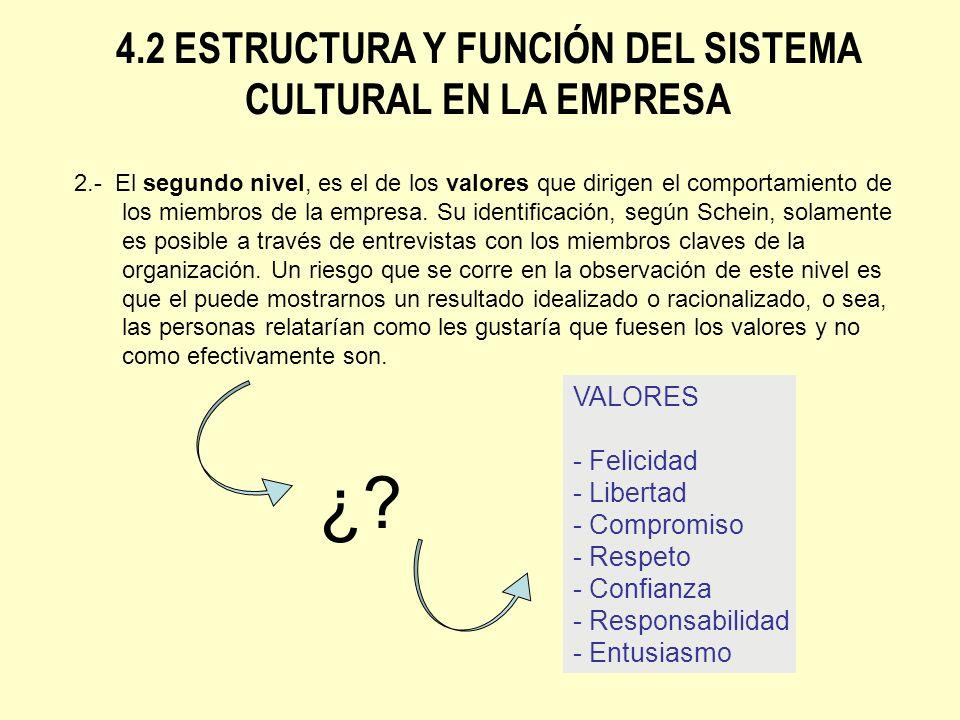 4.2 ESTRUCTURA Y FUNCIÓN DEL SISTEMA CULTURAL EN LA EMPRESA 2.- El segundo nivel, es el de los valores que dirigen el comportamiento de los miembros d