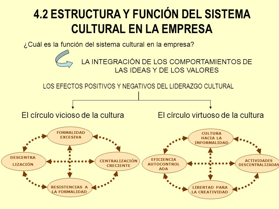 ¿Cuál es la función del sistema cultural en la empresa? LA INTEGRACIÓN DE LOS COMPORTAMIENTOS DE LAS IDEAS Y DE LOS VALORES LOS EFECTOS POSITIVOS Y NE
