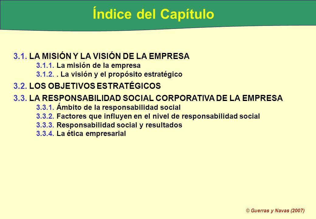 © Guerras y Navas (2007) Índice del Capítulo 3.1. LA MISIÓN Y LA VISIÓN DE LA EMPRESA 3.1.1. La misión de la empresa 3.1.2.. La visión y el propósito