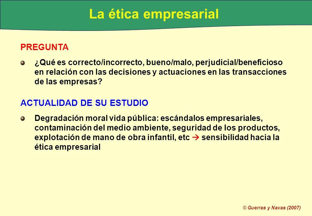 © Guerras y Navas (2007) PREGUNTA ¿Qué es correcto/incorrecto, bueno/malo, perjudicial/beneficioso en relación con las decisiones y actuaciones en las