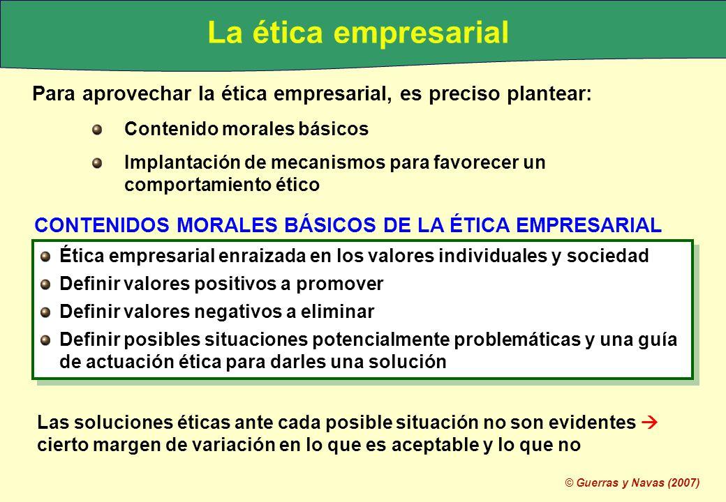 © Guerras y Navas (2007) Para aprovechar la ética empresarial, es preciso plantear: Contenido morales básicos Implantación de mecanismos para favorece