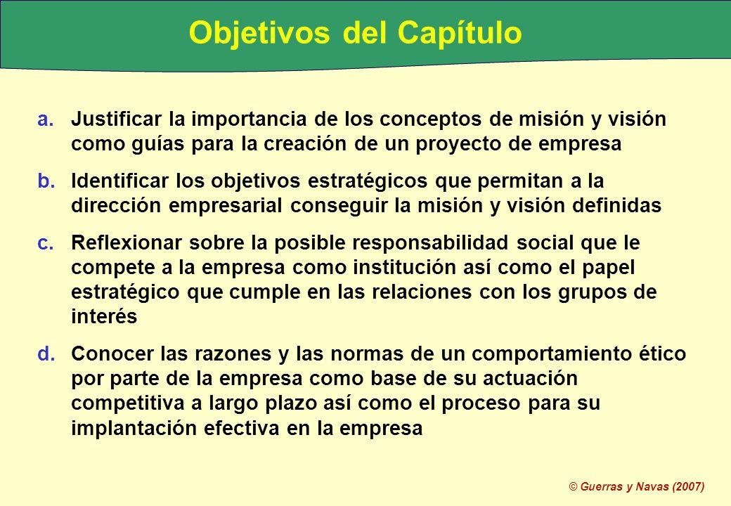 © Guerras y Navas (2007) Objetivos del Capítulo a.Justificar la importancia de los conceptos de misión y visión como guías para la creación de un proy