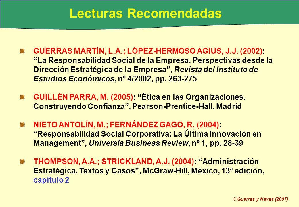 © Guerras y Navas (2007) Lecturas Recomendadas GUERRAS MARTÍN, L.A.; LÓPEZ-HERMOSO AGIUS, J.J. (2002): La Responsabilidad Social de la Empresa. Perspe