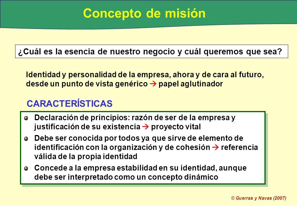 © Guerras y Navas (2007) ¿Cuál es la esencia de nuestro negocio y cuál queremos que sea? Identidad y personalidad de la empresa, ahora y de cara al fu