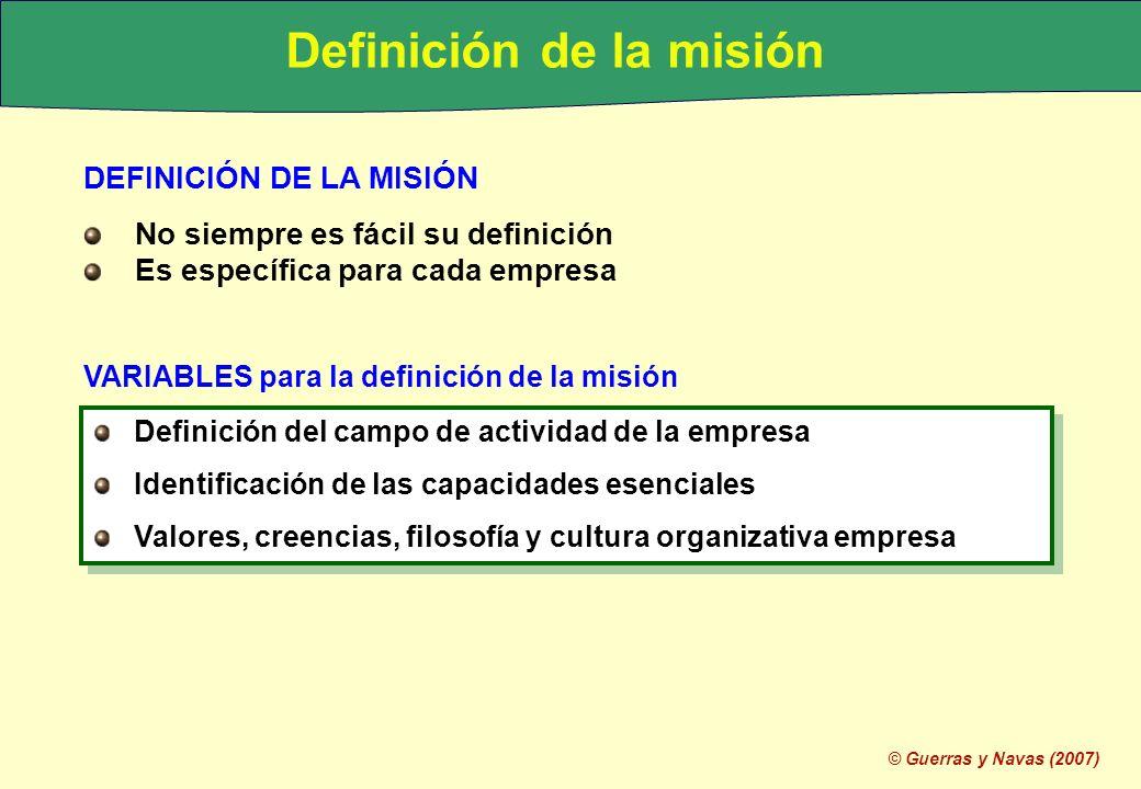 © Guerras y Navas (2007) MISIONES AMPLIAS Y ESTRECHAS Amplia: discrecionalidad desarrollo futuro, riesgo de desorientación Estrecha: centra esfuerzos, limita posibilidades de desarrollo futuro MISIONES AMPLIAS Y ESTRECHAS Amplia: discrecionalidad desarrollo futuro, riesgo de desorientación Estrecha: centra esfuerzos, limita posibilidades de desarrollo futuro MISIONES EXPLÍCITAS E IMPLÍCITAS Explícita: Sencillez, claridad, facilidad de interpretación Implícita: Internalizada en la mente de las personas MISIONES EXPLÍCITAS E IMPLÍCITAS Explícita: Sencillez, claridad, facilidad de interpretación Implícita: Internalizada en la mente de las personas Definición de la misión Necesidad de dar hilo conductor que dé sentido a la empresa Facilitar la identificación y selección de opciones estratégicas Posibilidad de definir distintas misiones para distintos negocios Necesidad de dar hilo conductor que dé sentido a la empresa Facilitar la identificación y selección de opciones estratégicas Posibilidad de definir distintas misiones para distintos negocios EMPRESAS DIVERSIFICADAS dificultad formular misión integradora