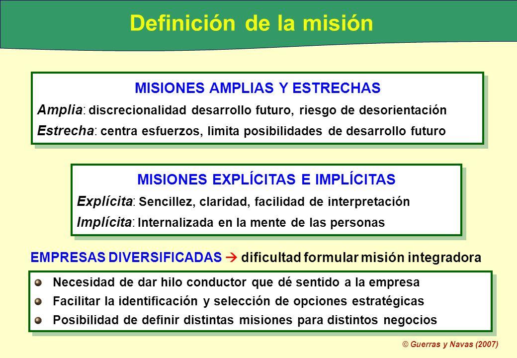© Guerras y Navas (2007) MISIONES AMPLIAS Y ESTRECHAS Amplia: discrecionalidad desarrollo futuro, riesgo de desorientación Estrecha: centra esfuerzos,