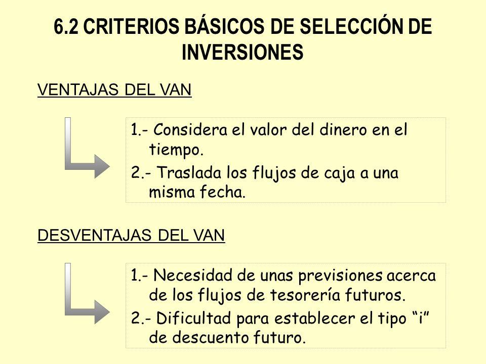 1.- Considera el valor del dinero en el tiempo. 2.- Traslada los flujos de caja a una misma fecha. 6.2 CRITERIOS BÁSICOS DE SELECCIÓN DE INVERSIONES V