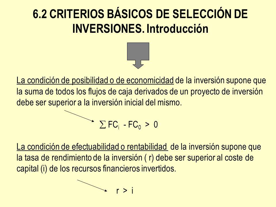 6.2 CRITERIOS BÁSICOS DE SELECCIÓN DE INVERSIONES. Introducción La condición de posibilidad o de economicidad de la inversión supone que la suma de to