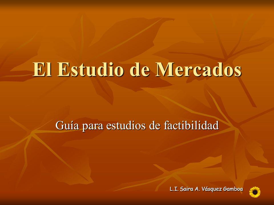 L.I. Saira A. Vásquez Gamboa El Estudio de Mercados Guía para estudios de factibilidad