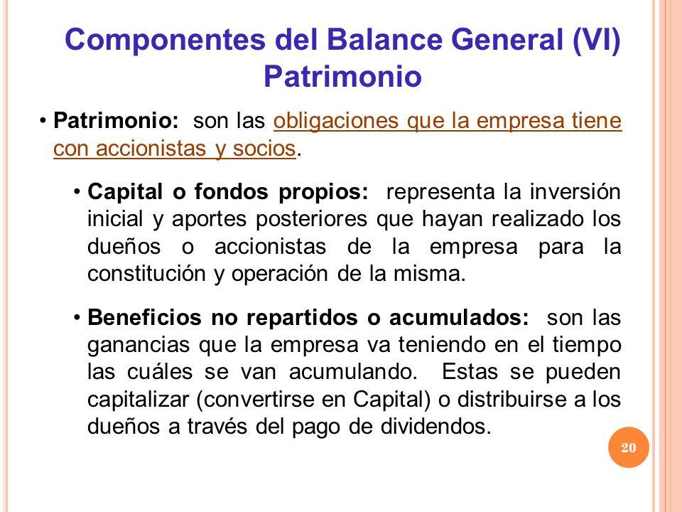 Patrimonio: son las obligaciones que la empresa tiene con accionistas y socios. Capital o fondos propios: representa la inversión inicial y aportes po