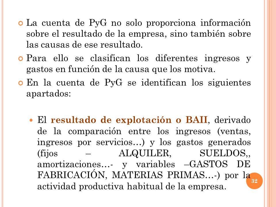 La cuenta de PyG no solo proporciona información sobre el resultado de la empresa, sino también sobre las causas de ese resultado. Para ello se clasif